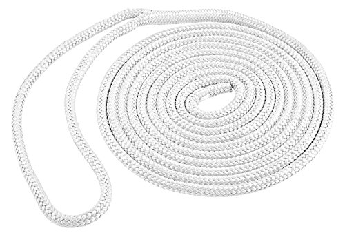 Shoreline Marine Double Braided Nylon Dock Line, 3/8-Inch x 20-Feet, White