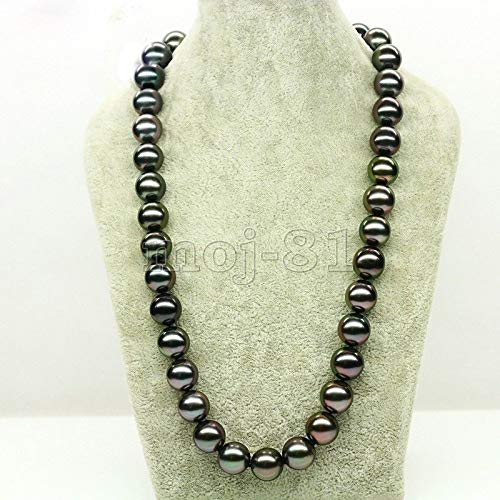 paweena Huge 12mm Genuine Black South Sea Shell Pearl Round Beads Necklace 18'' AAA