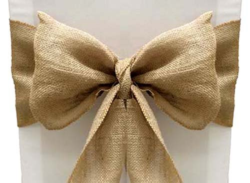 VDS Set of 50 Natural Burlap Chair Sashes Bows Ties Natural Jute Country Vintage for Wedding Party Ceremony Reception Decorations Supplies