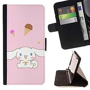 For Samsung Galaxy Core Prime - Cute Bunny Rabbit Ice Cream /Funda de piel cubierta de la carpeta Foilo con cierre magn???¡¯????tico/ - Super Marley Shop -