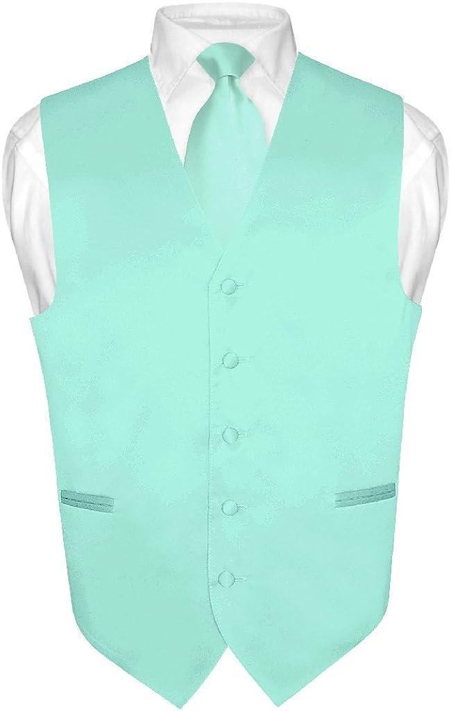 Men's Dress Vest & Necktie Solid Aqua Green Color Neck Tie Set for Suit or Tux
