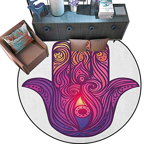 Hamsa Round Soft Area Rugs Vivid Floral Swirls Symbol of Aura Energy Flow Harmony Health Doodle Perfect for Any Room, Floor Carpet (75