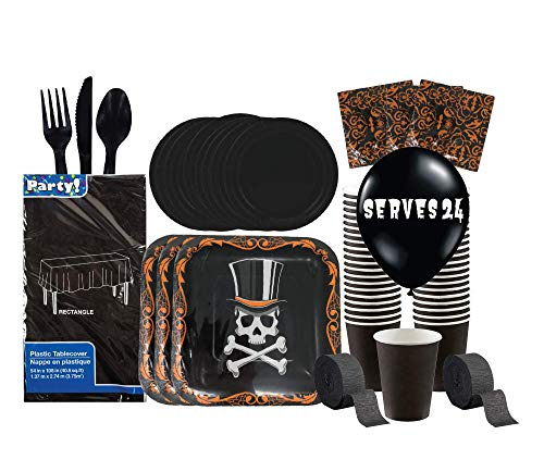 Disposable Halloween Tableware Party Supplies | Skull and Top Hat | Includes Plates, Knives, Spoons, Forks, Cups, Napkins, Decorations and Vintage Bottle Stickers, 24 Guests