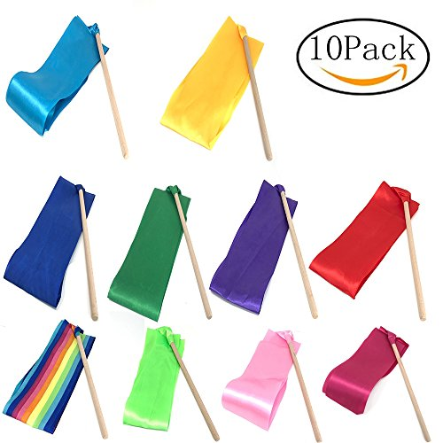 Dance streamers,ribbon wands,dance ribbons,rhythmic gymnastics ribbon,streamers twirling ribbon with wooden wand for kids art dances.Pack of 10 by Ymkf Sqqr