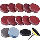 """SIQUK 120pcs 2 inch Sanding Discs Pad with 1pc 1/4"""" Shank Backing Pad and 1pc Soft Foam Buffering Pad for Drill Grinder (10pcs Each Grit - 60 80 120 180 240 400 600 800 1000 1200 2000 3000)"""