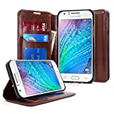J7 Case, Galaxy J7 Case, Nagebee - Premium PU Leather Flip Fold Wallet Pouch Case for Samsung Galaxy J7 2015 (Fold Wallet Brown)