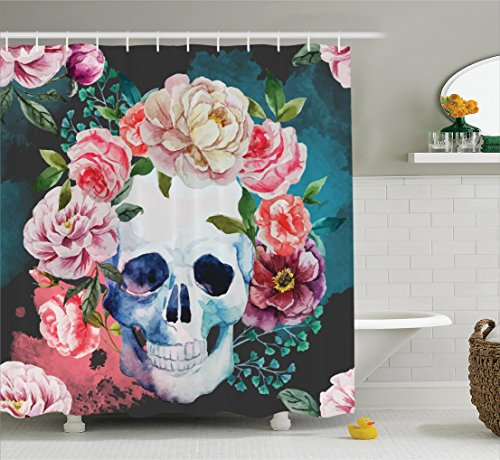 Ambesonne Skulls Decorations Collection, Big Flowers and Skull Design Skeletons All Saints Day Halloween Image, Polyester Fabric Bathroom Shower Curtain, 75 Inches Long, Soft Purple Pink Green