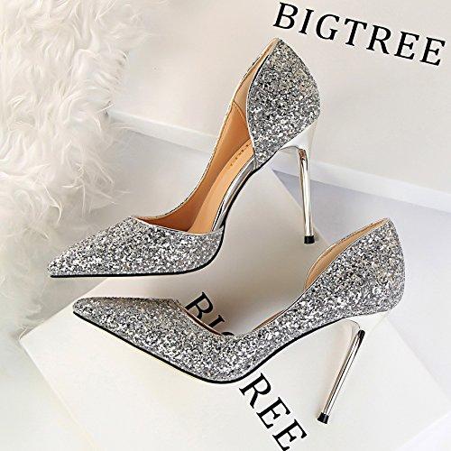 Xue Qiqi Qiqi Qiqi Schuhe Gold Hochzeit Schuhe braut Seite silber Schuhe mit hohen Absätzen mit feiner Spitze einzelne Schuhe weiblich 39 ausgesetzt Silber 8688db