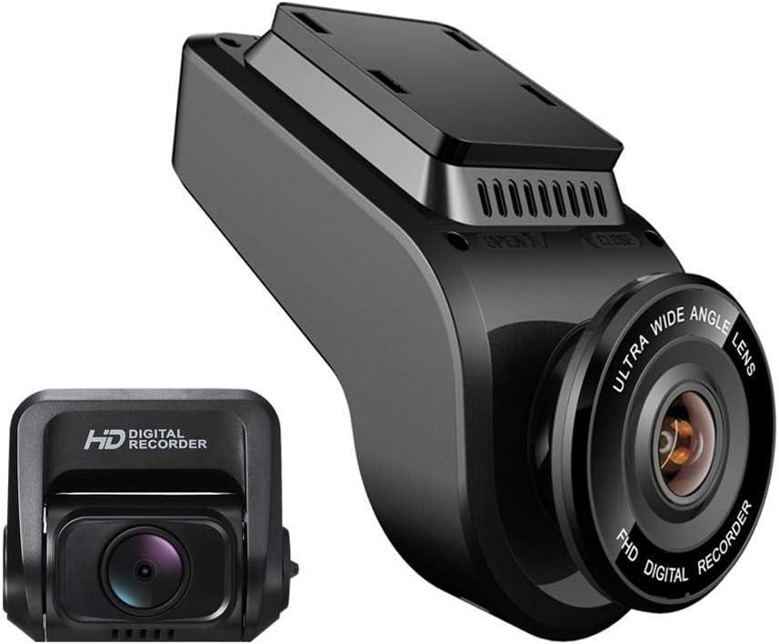 カーダッシュカムFHD、1080p 170°広角ダッシュボードカメラレコーダー、HDリアカメラ、内蔵GPSロガー、モバイル検出、衝突保護(メモリカードは含まれていません)