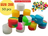 baked vapes - 2ml Non-Stick Food Grade Silicone Oil Kitchen Container Dab Wax Concentrate Storage Jars, silicone wax containers, Silicone makeup sample containers (50, colorful)