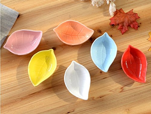 Leaf Shaped Bowl - Stock Show 6Pcs Multipurpose Ceramic Seasoning Dishes Appetizer Plates, Multicolor Leaf Shape Porcelain Saucers Bowl Dinnerware Set for Vinegar/Salad Soy Sauce/Wasabi