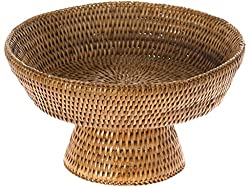Kouboo La Jolla Pedestal Rattan Fruit Bowl, Honey Brown
