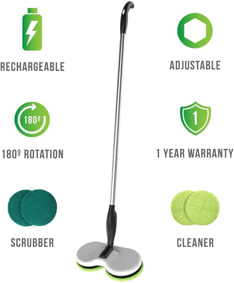 Gladwell Cordless Rechargeable Electric Mop - Floor Cleaner + Scrubber Dual Head Spin Rotating Design 3-in-1 Extendable Handle For Wood Tile Marble Stone Vinyl and Laminated Flooring (Renewed)