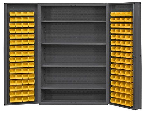 Durham Heavy Duty Welded 14 Gauge Steel Cabinet with 128 Bins, DC48-128-4S-95, 700 lbs Capacity, 24 Length x 48 Width x 78 Height, 4 Shelves