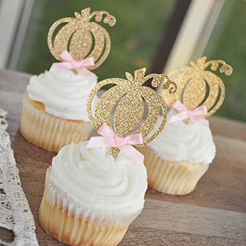 Pink and Gold First Birthday. Our Little Pumpkin is Turning One. Pumpkin Cupcake Toppers. Set of 12. -