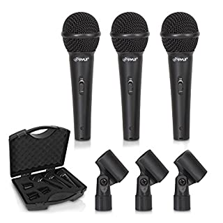3-Piece Professional Dynamic Microphone Kit - Cardioid Unidirectional Vocal Handheld Microphone with Hard Carry Case & Mic Holder/Clip - Pyle PDMICKT80
