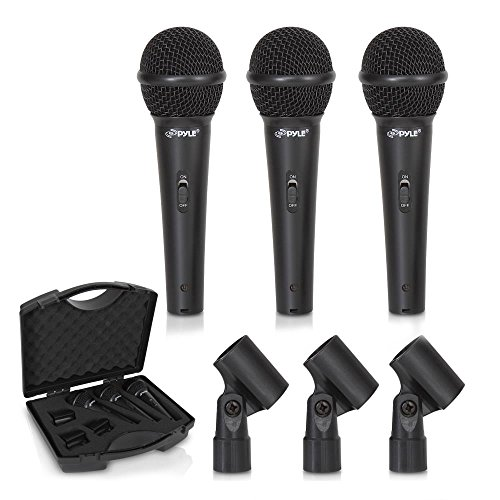Dynamic Vocal Cardiod Microphone (Pyle 3 Piece Professional Dynamic Microphone Kit Cardioid Unidirectional Vocal Handheld MIC with Hard Carry Case & Mic Holder/Clip (PDMICKT80))