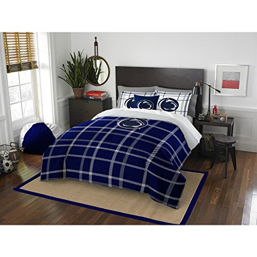 3 Piece NCAA Penn State Nittany Lions State College Full Comforter Set, Blue White, Sports Patterned Bedding, Featuring Team Logo, Penn State Merchandise, Team Spirit, College Football Themed by OS (Image #3)