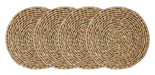(wellhouse Wooden Round Braided Mat Natural Handmade Straw Woven Placemat Insulation Resuable Non-Slip Pad (7.08Inch, Miao Grass-4))