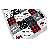 "Baby Minky Blanket Lumberjack style in red gray black, 28"" x 38"""