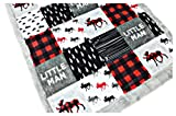 Minky Baby Blanket, Lumberjack moose in Red, Black and Gray, 28″x38″ For Sale