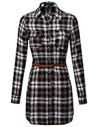 MBE Women's Super Cute Flannel Plaid Checker Shirts Dress with Belt