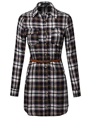 MBE Women's Super Cute Flannel Plaid Checker Shirts Dress with Belt