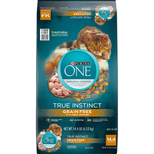 Purina ONE Natural, High Protein, Grain Free Dry Cat Food, True Instinct With Real Chicken – 14.4 lb. Bag