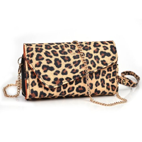Leopard Print Purses (NuVur Leopard Print PU Leather Wallet Phone Wristlet | Kyocera Hydro Reach)