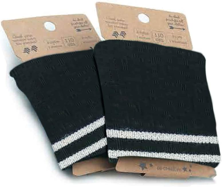 Tela de punto el/ástico Modelo 12 perfecta para 2 pu/ños para rematar prendas de color azul azafata con rayas color marino y tostado 1 cinturilla