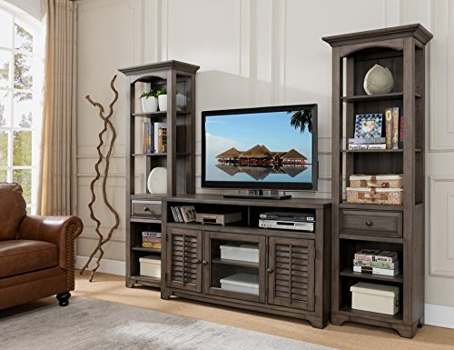 Kings Brand Furniture Austin Distressed Grey 3-Piece TV Stand Wall Unit Entertainment Center