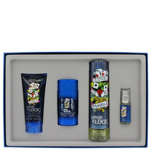 - NEW CHRISTIAN AUDIGIER Love & Luck Cologne Gift Set - 3.4 oz Eau De Toilette Spray + 3 oz Hair & Body Wash + 2.75 oz Deodorant Stick + .25 oz Mini EDT Spray FOR MEN