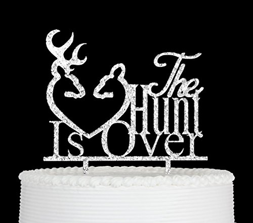 Qttier The Hunt Is Over With Deer Silhouette Cake Topper -Wedding, Engagement Party Decorations (Silver) for $<!--$9.99-->