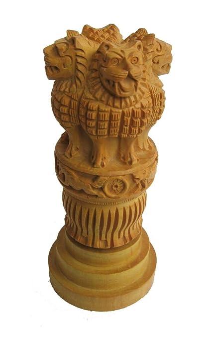 Buy Crafts Gallery Wooden Ashoka Pillar Indian Emblem Carved