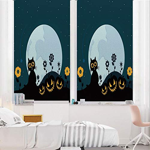 Halloween Decorations 3D No Glue Static Decorative Privacy Window Films, Cute Cat Moon on Floral Field with Starry Night Sky Star Cartoon Art,17.7