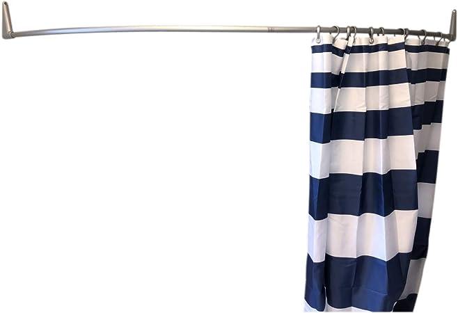 erica tringles de rideau de douche incurvees 140x140 cm barre de rideau de douche a fixation murale pour baignoire sans fixation au plafond