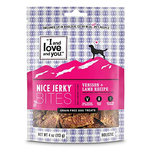 I and love and you Nice Jerky Bites - Grain Free Dog Treats, Venison + Lamb, 4-Ounce, Pack of 1