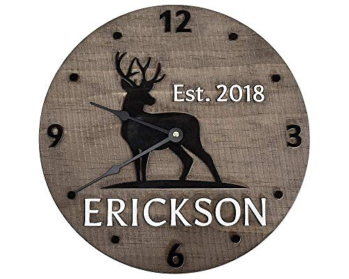Rustic 11 Inch Wooden Deer Clock Personalized with Last Name and Established Year