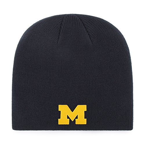 Michigan Knit Hat - OTS NCAA Michigan Wolverines Beanie Knit Cap, Navy, One Size