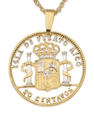 Puerto Rico Pendant & Necklace, Puerto Rican 20 Centavos Hand Cut Coin