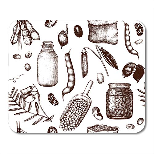 Floral Lentil - Emvency Mouse Pads Bean Ink Legume Crops Sketches Vintage Legumes Products Farm Fresh and Organic Food Soy Mouse Pad Mats 9.5