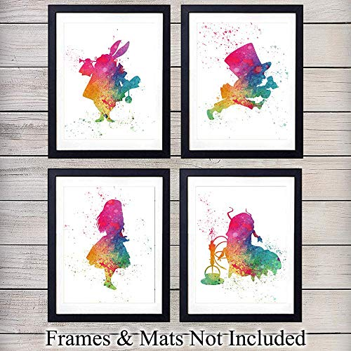 Alice in Wonderland Watercolor Wall Art Prints - Perfect Gift For Baby Girl Room, Nursery, Disney World Fans - Disneyworld - Great For Home Decor - Ready to Frame (8X10) Photos - Lewis Carroll