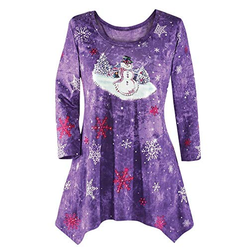 Plus Size Women's Winter Festive Waterfall Christmas Irregular Blouse Top(Purple,L) ()