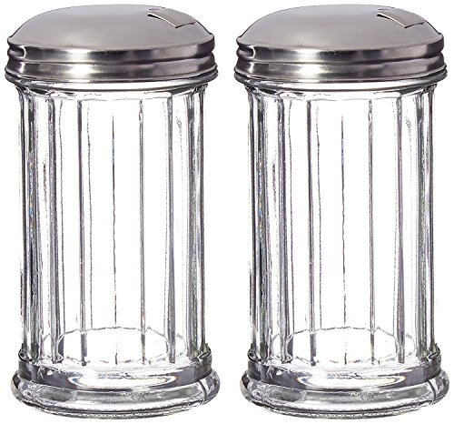 Great Credentials Set of 2 Sugar Shaker Retro Dispenser, Glass Jar, Pour-Flap Lid Stainless Steel Lid 12 OZ Each (Pour-Flap Lid) (Retro Sugar Dispenser)