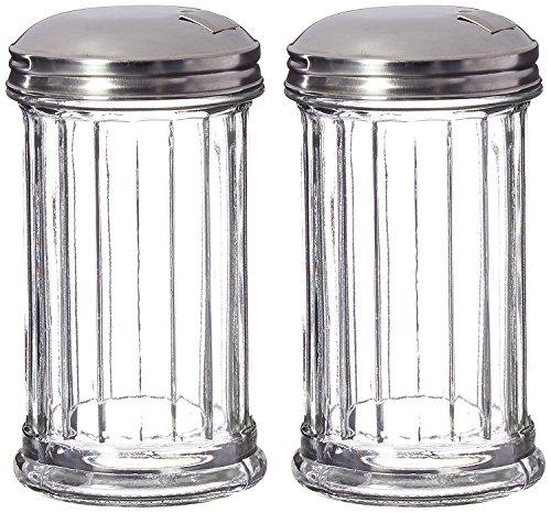 Great Credentials Set of 2 Sugar Shaker Retro Dispenser, Glass Jar, Pour-Flap Lid Stainless Steel Lid 12 OZ Each (Pour-Flap Lid)