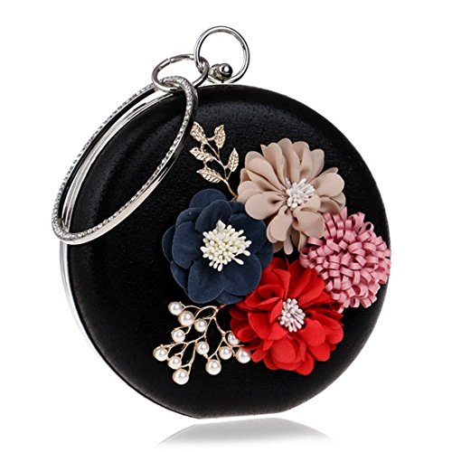 Black Women's Evening bag Hand Silver Fashion Bag Dress evening Evening Lady's Handbag Flower Color Fly Bag qwfgZEx