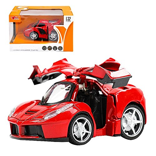 MING YING Q Version Diecast Car Play Vehicles, Moving Vehicle Toys, Pull Back Action with Lights and Sounds, Can Open the 2 Doors (Red Ferrari Spray)
