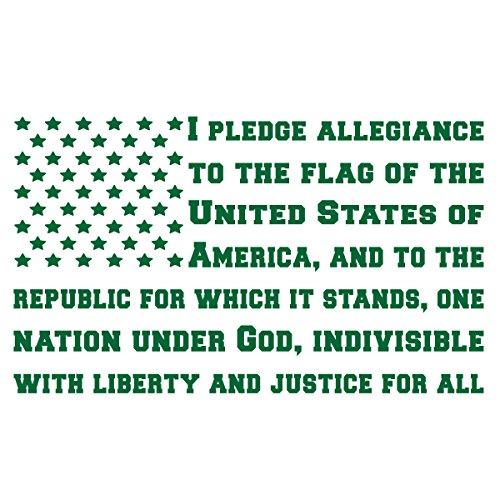 BAMFdecals USA Pledge of Allegiance Subdued American Flag Shape Die-Cut Vinyl Decal - Medium - Green ()