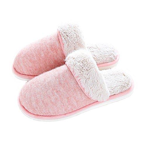Aunua Unisexe Douillet Douillet Confortable Coton Maison Pantoufles Rose