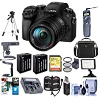 Panasonic Lumix DMC-G7 Mirrorless Micro 4/3s Digital Camera with Vario 14-140mm f/3.5-5.6 Lens, Black - Bundle w/Camera Case, 64GB SDXC U3 Card, Spare Battery, Tripod, Remote Shutter Release and More